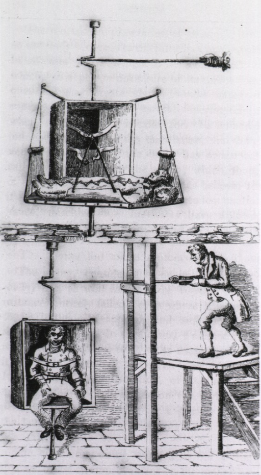 <p>Two views of 'circulating swings' with patients strapped in; bottom view shows a man on a platform rotating a swing on which a man is strapped.</p>