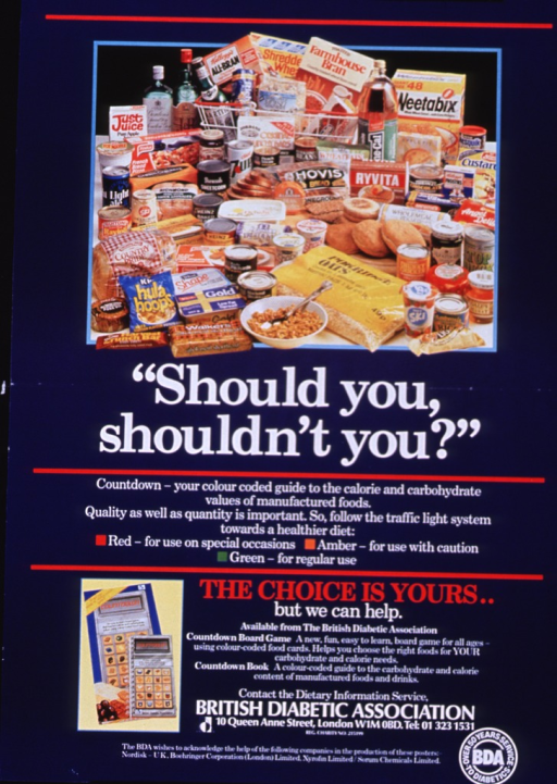 <p>Navy blue poster with white and red lettering.  Top of poster features a reproduction of a color photo showing a wide variety of packaged foods.  Title below photo, caption below title.  Note, information about Countdown, publisher information, and sponsor list at bottom of poster.</p>