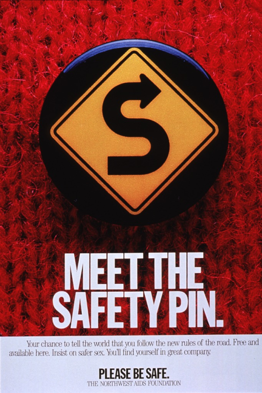 <p>Predominantly red poster with black and white lettering.  Visual image dominates upper portion of poster.  Image is reproduction of a color photo showing a black button that features a road sign bearing an &quot;S&quot; with an arrowhead.  The button is clearly pinned to a sweater or knit garment.  Title superimposed on bottom of photo.  Caption, note, and publisher information in lower portion of poster.</p>