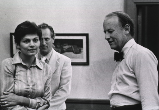 <p>Avital Scharansky, wife of Anatoly (Natan) Scharansky, and Donald S. Fredrickson, director of the National Institutes of Health (NIH), are standing in a room.  An unidentified man is behind Mrs. Scharansky.  There is a picture on the wall.</p>