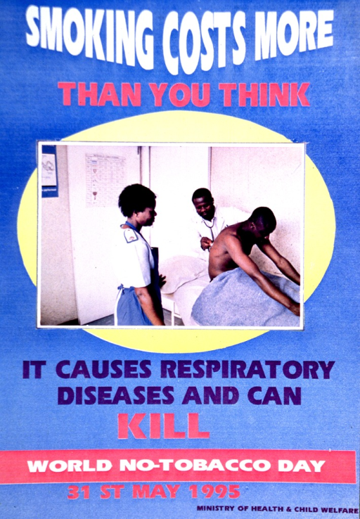 <p>Predominantly blue poster with multicolor lettering.  Title at top of poster.  Visual image is a reproduction of a color photo featuring a doctor and nurse with a male patient.  The patient sits up in bed while the doctor presses a stethoscope to the man's back.  Caption below photo.  Note below caption.  Publisher information at bottom of poster.</p>
