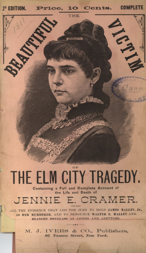 <p>Image of the pamphlet front cover.  The cover has a pale pink and/or beige color. It features a two-thirds profile engraved portrait of Jennie E. Cramer wearing a dress with a high ruffled collar and a hair clasp holding her hair up. The portrait is in the center of the cover between the text and occupies two-thirds of the the cover with related title and publisher text above and below it. The lower left corner of the cover page is missing as if it were torn and cut off the original document, but no text appears absent.</p>