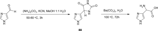 Synthesis of imidazolylglycine via the corresponding hydantoin intermediate [76].