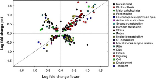Comparison of expression changes in response to elevated [O3] in soybean flowers and pods. The log fold change of the 277 individual genes significantly changing in response to elevated [O3] in both pods vs. flowers is shown. Functional groups are represented by different symbols/colors. The 1:1 line represents genes that have the same direction of fold change in flower and pod tissue.