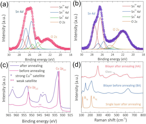 Materials characterizations for TFT channel layers.XPS Sn 4d peaks of (a) before and (b) after annealing bilayer sample; (c) XPS Cu 2p peaks of bilayer sample. (d) Raman spectra of before and after annealing bilayer samples and SnO single layer sample.
