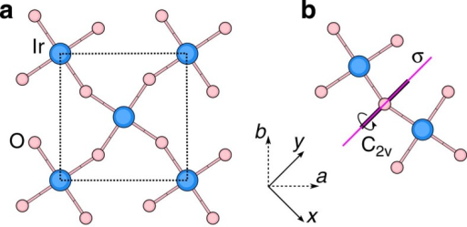Planar IrO2 network in Sr2IrO4.(a) Coordination of the Ir site. Dashed lines show the boundaries of the crystallographic unit cell within a given IrO2 layer. (b) The point-group symmetry of the [Ir2O11] block is C2v; associated symmetry elements are indicated in the figure.