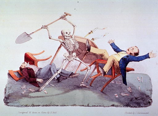 <p>Death upsets the table and strikes at the gamblers with a spade.</p>