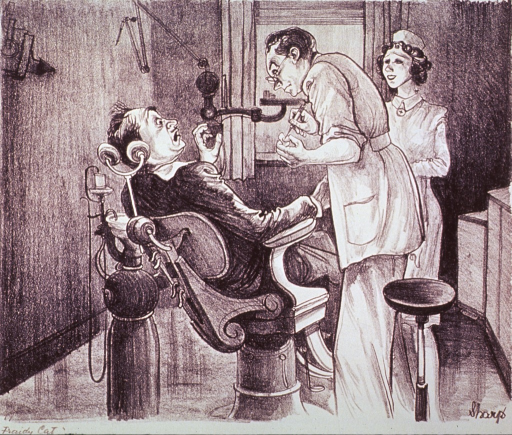 <p>A man sitting in a dental chair recoils in horror as the dentist prepares to inject anesthesia.  A dental assistant stands to the right of the dentist.</p>