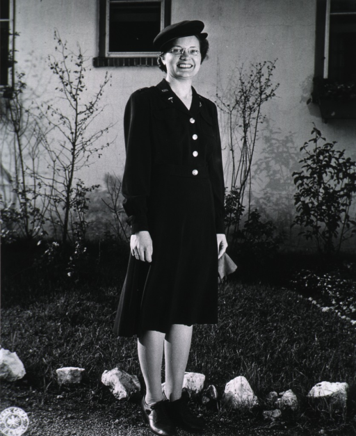 <p>Full length, full face, wearing blue dress uniform.</p>