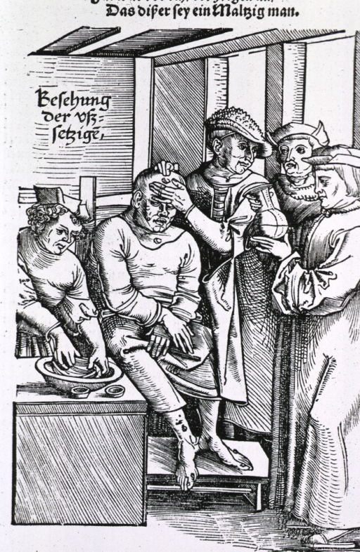 <p>A patient, sitting in a chair, is being examined by a physician, he consults with another physician, while a third is examining the contents of a urine flask; an assistant appears to be preparing a treatment.</p>
