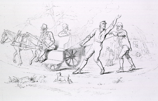 <p>Two men are sitting on a horse-drawn wagon; two 'lunatics' are tethered to the wagon by rope.</p>