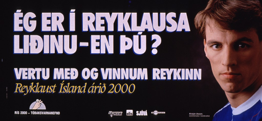 <p>Predominantly gray poster with multicolor lettering.  Title at top of poster.  Visual image is a color photo reproduction featuring Kristjan Arason, a handball player.  Additional text on poster appears to encourage working for a smokefree Iceland by 2000.  Publisher information in lower left corner.  Sponsor information at bottom of poster.</p>