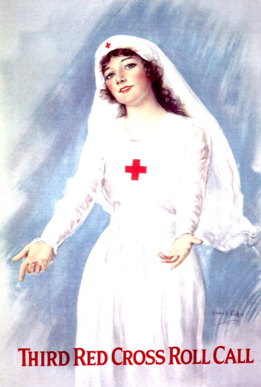 <p>A woman in a Red Cross uniform is standing with her arms reaching out.</p>