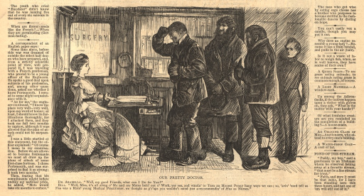 <p>A female doctor sits at a desk in an office.  Three men stand in a line before the desk.  The first man approaches the desk and tips his hat.</p>