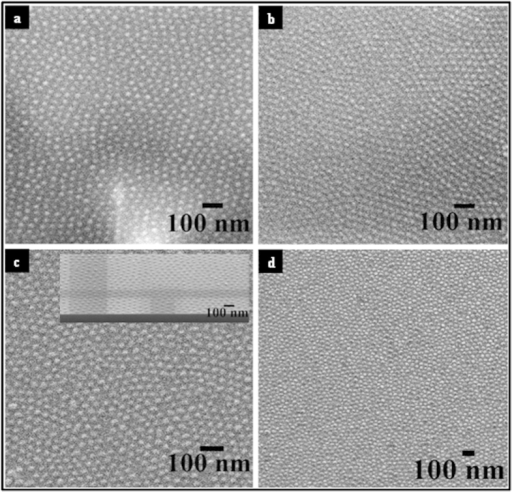 Top-down SEM images of iron oxide nanodots before (a,c) and after electrochemical (b,d) analysis. Data from ALW are shown in (a,b) and corresponding data for BHW in (c,d) respectively.