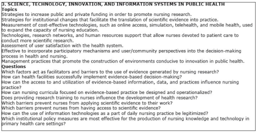 Research topics/questions of the category Science, Technology, Innovation,and Information Systems in Public Health