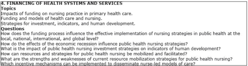 Research topics/questions of the category Financing of Health Systems andServices