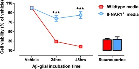 Aβ1-42-conditioned media from IFNAR1−/− glia induces less neurotoxicity than wildtype counterparts. Primary wildtype and IFNAR1−/− glial cultures were treated with 10 μM Aβ1-42 for 24–48 h and conditioned media was transferred to primary cultured wildtype neurons. An MTS assay was performed to assess cellular viability of neuronal cultures. Apoptosis-inducing staurosporine treatment was utilized as a cytotoxic positive control. Data are displayed as mean ± SEM (n = 3 per genotype (independent glial and neuronal primary cultures); ***p < 0.001). See Additional file 2: Table S1 for further analysis