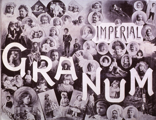 <p>Advertisement from Yenowine's News for Imperial Granum, a pablum-like cereal for invalids and children, with testimonials and vignettes of many children.</p>