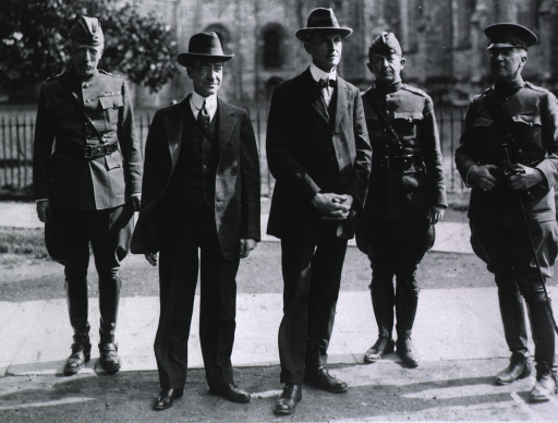 <p>Secretary of War Newton D. Baker inspecting American Red Cross activities in England.  Shown here, in Winchester, with the Lord Mayor of Winchester, General John Biddle, Brig. General W.F. Martin, and Col. Samuel Jones.</p>