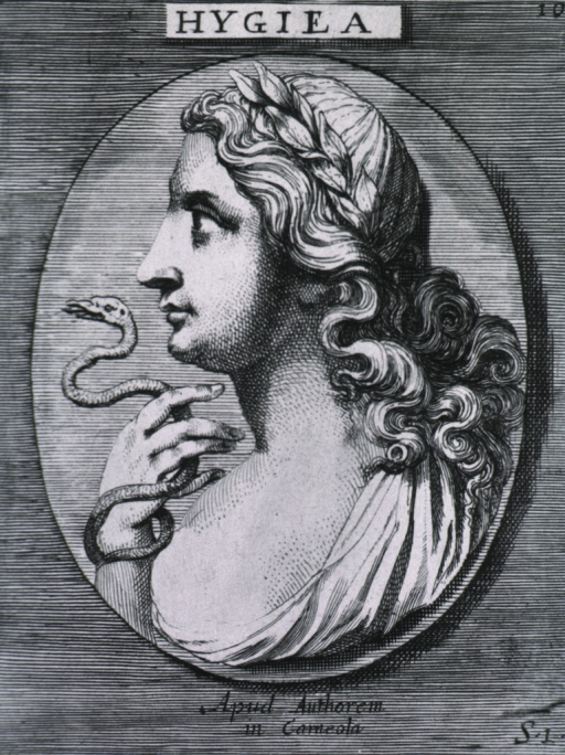 <p>Left profile, serpent entwined around arm.</p>