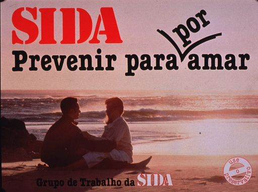 <p>Multicolor poster.  Title at top of poster.  Title word &quot;por&quot; is presented as though inserted with an editorial mark.  Title deals with AIDS, prevention, and love.  Visual image is a color photo reproduction featuring a male-female couple sitting on a beach.  Publisher information and note at bottom of poster.  Note urges condom use.</p>