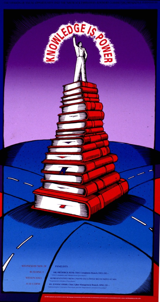 <p>Poster shows a stack of books with a person standing on top of them, arm raised, and the title arcing over him. The books are at the crossing of two roads with the ground and roads in turquoise. The sky is purple and the print is in red, blue, or black. The topics include: EEO complaint and adjudication procedures; negotiated grievance procedures; and administrative grievance procedure and the negotiated grievance procedure.</p>