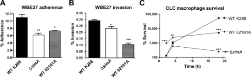 M-like protein contributes to S. iniae adherence to and invasion of cultured fish epithelial cells and resistance to killing by fish macrophages.(A) Adherence and (B) invasion characteristics of WT K288, the isogenic ΔsimA allelic mutant, and the naturally M-deficient WT 02161A S. iniae strain for the fish epithelial cell line WBE27. (C) Survival of WT K288, WT 02161A, and the ΔsimA mutant upon co-incubation with CLC fish macrophage/monocytes for 2, 4, or 18 h. Significance indicated as: * P<0.05, ** P<0.005, *** P<0.0005. Data are presented as mean±SEM from two-tailed t-tests.