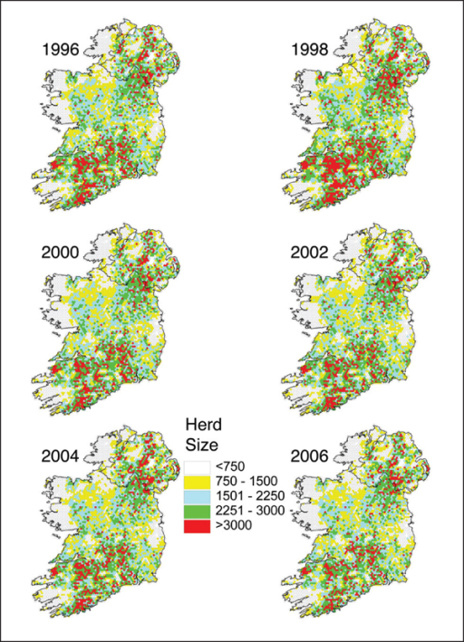 Thematic map of the TB-tested cattle population each year on the island of Ireland from 1996 to 2006. Cattle population data from each farm were assigned to the relevant hexagon, based on the location of its point representation.