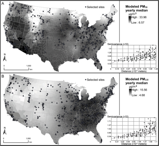 Estimated background PM10 and PM2.5 concentrations (µg/m3) across contiguous U.S. counties.A—PM10 yearly median concentrations (averaging 1999–2005), assessed with ordinary kriging, exponential covariance, lag distance = 125 km, nugget = 0.037, range = 1,538 km, partial sill = 0.083; B—PM2.5 yearly median concentrations (averaging 1999–2005), assessed with ordinary kriging, spherical covariance, lag distance = 170 km, nugget = 0.014, range = 1,687 km, partial sill = 0.066.