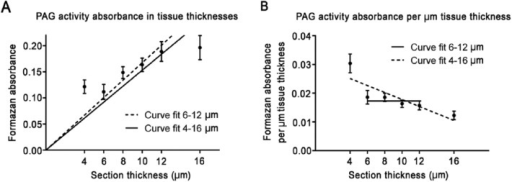 (A) Metabolic mapping of phosphate-activated glutaminase (PAG) activity in the presence of 37.5 mM glutamine in tissue sections from mouse brain of various thicknesses. (B) Absorbance, as calculated per µm tissue section thickness. All test reactions were corrected for nonspecific background staining in the absence of substrate. Absorbance is presented as the mean absorbance ± SEM (n=8 measurements for 4, 6, 10 and 16 µm and n=9 measurements for 8 and 12 µm).