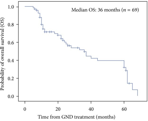 The Kaplan-Meier estimate of overall survival (OS) for all patients.
