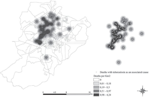 - Map of the density distribution of cases of deaths from tuberculosis asthe immediate cause. Ribeirão Preto, SP, Brazil, 2006/2012