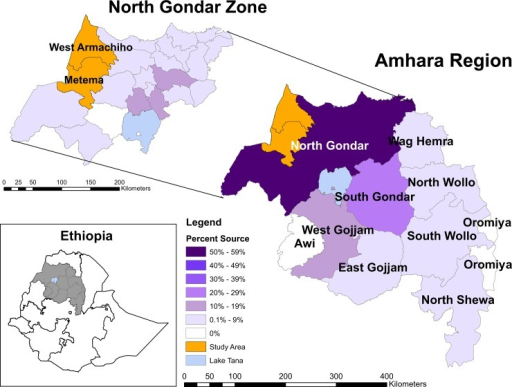 Reported Home Areas.Distribution of reported home areas within Amhara Region (lower right) and North Gondar Zone (upper left) among migrant farm workers in Metema and West Armachiho districts, Ethiopia, July 2013.