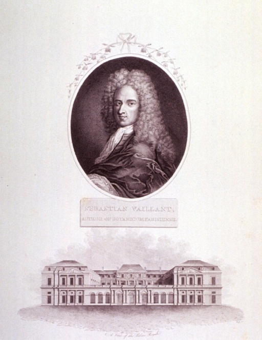 <p>Half length, left pose, full wig; in oval with decorative flower spray at top.  Rect. below, and a view of the Palais Royale.</p>
