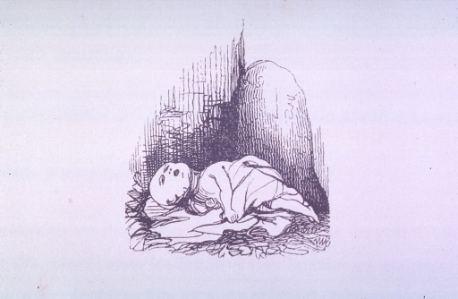 <p>A vignette of a stillborn or recently deceased infant lying in a street corner on straw.</p>