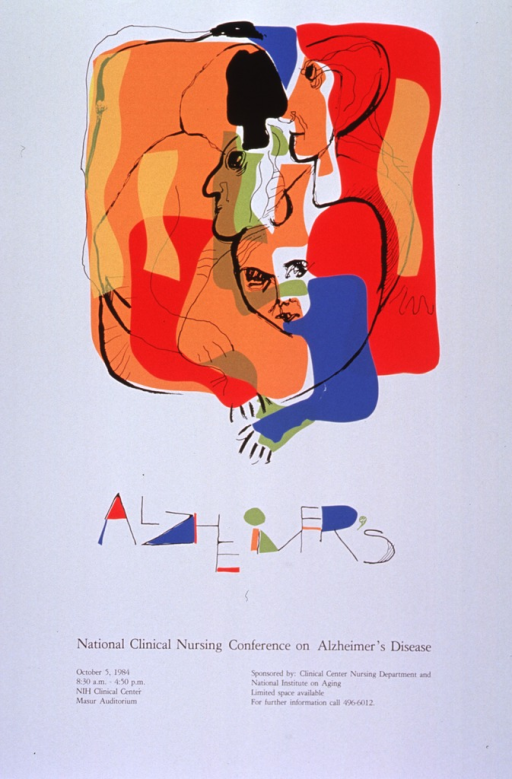 <p>White poster with black lettering announcing conference Oct. 1984.  Also lists time, location, sponsors, and phone number for more information.  Dominant image on poster is abstract multicolor print.  Three separate faces and three arms can be discerned among the mix of orange, red, blue, green, and gold, with black lines.  The title appears below the image.  It is in irregular printing, with many of the openings in the letters colored in.  All other text appears below title.</p>