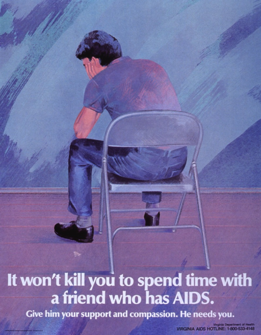 <p>Multicolor blue and purple tone poster with white and black lettering.  Visual image dominates poster.  Image is an illustration of a man sitting on a folding chair, with his back to the viewer.  He rests his arm on his knee and supports his head with his hand.  Title and caption superimposed on bottom of illustration.  Publisher information in lower left corner.  Information for Virginia Dept. of Health in lower right corner.</p>
