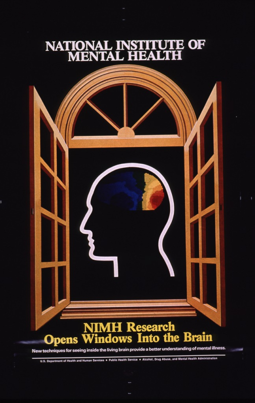 <p>Predominantly black poster with white and yellow lettering.  Initial title phrase at top of poster.  Visual image is an illustration of an open window.  The outline of a human head containing a multicolor brain is visible through the window.  Remaining title text and picture caption below image.  Publisher information at bottom of poster.</p>
