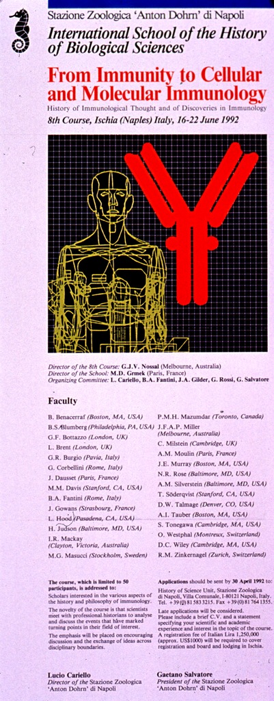 <p>Predominantly white poster with black and red lettering announcing a seven-day course held in 1990.  Publisher information and course name at top of poster.  Title below.  Visual image is an illustration incorporating an abstract human figure covered with a web of lines, a symbol for an antibody molecule, and a grid.  Topics and lecturers, along with general information on the course below image.</p>