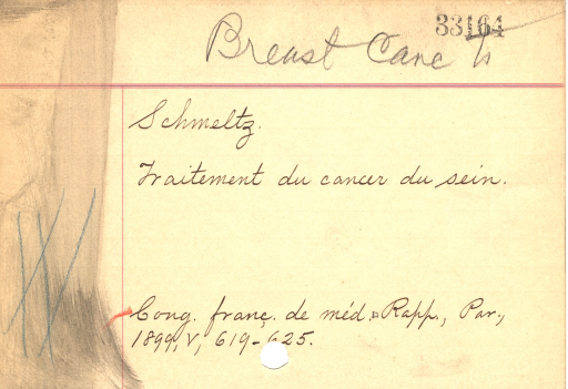 <p>A handwritten subject card from the Library's old card catalog recalls the precomputer days when information had to be created, classified, and sorted by hand.</p>
