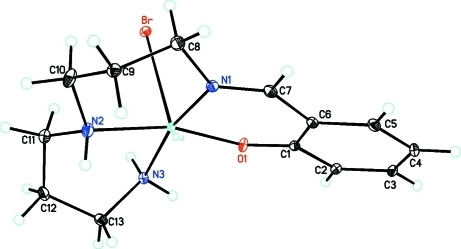 A view of the title compound, C13H20BrCuN3O, showing atom numbering scheme.