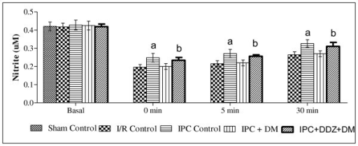 Effect of ischemic preconditioning (IPC) and treatment of DDZ, on the release of nitric oxice in diabetic rat heart. I/R, IPC, DM, DDZ, denotes ischemia reperfusion, ischemic preconditioning, diabetes mellitus and daidzein respectively. Values are expressed as mean ± S.D, a = p < 0.05 vs. I/R Control; b = p < 0.05 vs .IPC in diabetic rat heart.