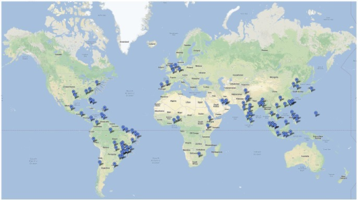 Map illustrating top 100 stopover risk airports identified by the model.