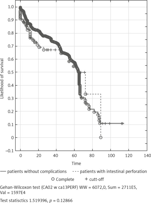 Patients survival dependent on operation performed because of intestinal perforation