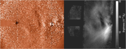 Recent improvements in the state of the art allow separation of a photometric signal from wide‐field heliospheric images. (left) Median‐filtered difference imaging was state of the art in 2010. (right) Processed image reveals shape and photometry in the same CME as at left.