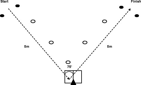 Layout for a right footed plant and cut left. From a standing start participants sprinted maximally toward a marker placed on the floor, made a single complete foot contact on the force plate, and performed a 75° cut before sprinting maximally to the finish