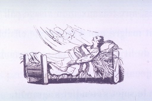 <p>Vignette of a male patient lying in a hospital(?) bed on a straw mattress.  A strong gust of wind blows in on him.</p>