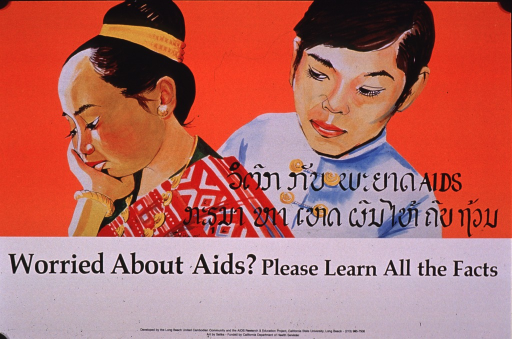 <p>Multicolor poster with black lettering.  Visual image is an illustration of a male-female couple in traditional dress.  The woman rests her head on her hand, as if in thought.  Title in Khmer script superimposed on illustration.  English title below.  Publisher and sponsor information at bottom of poster.</p>