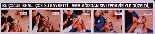 <p>Multicolor poster with white and black lettering.  Title at top of poster.  Title addresses the concepts of a child with diarrhea, dehydration, and the child improving when given fluids.  Visual images are color photo reproductions showing a lethargic infant steadily becoming more alert as it is spoonfed liquids.  Publisher information in lower right corner.</p>